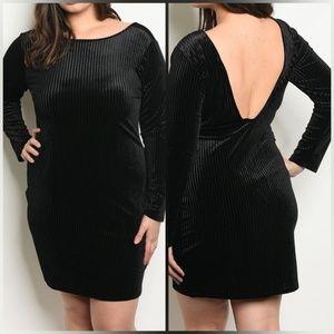 Plus Size Velvet Open Back Bodycon Dress - Black